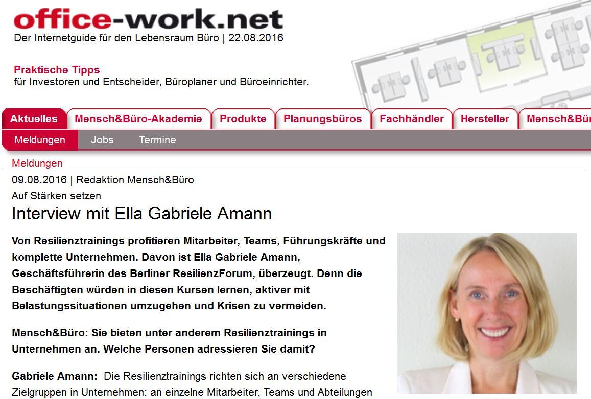 Interview Mensch & Büro mit Gabriele Amann zur Resilienzförderung